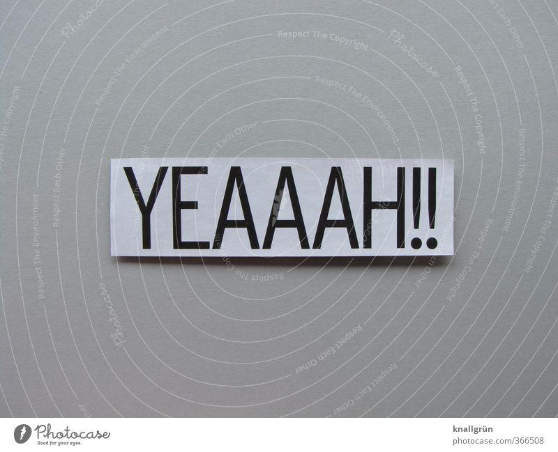 YEAAAH!! Schriftzeichen Schilder & Markierungen Kommunizieren grau weiß Gefühle Stimmung Freude Glück Fröhlichkeit Zufriedenheit Lebensfreude Begeisterung