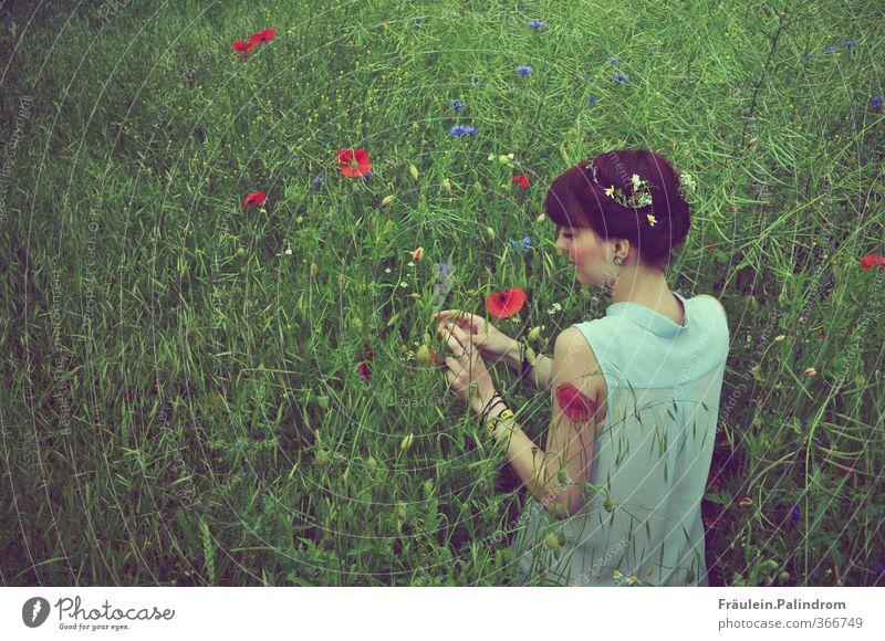 verwurzelt II. Mensch feminin Junge Frau Jugendliche Erwachsene Arme 1 18-30 Jahre Natur Landschaft Pflanze Frühling Sommer Wetter Gras Sträucher Nutzpflanze