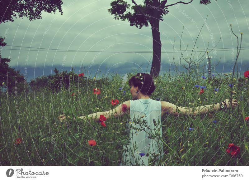 verwurzelt III. Mensch feminin Arme 1 18-30 Jahre Jugendliche Erwachsene Natur Himmel Frühling Sommer Wetter Gras Nutzpflanze Wiese Feld Haare & Frisuren