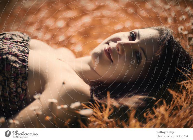 Kiri IV Mensch feminin Junge Frau Jugendliche Erwachsene Leben Kopf 1 Natur Pflanze Erde Sommer Schönes Wetter Blume Gras Gänseblümchen Garten Park Wiese Kleid