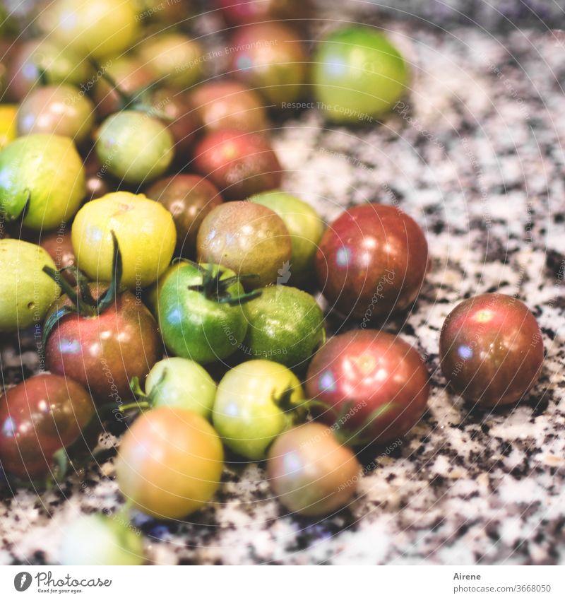 Mischgemüse Tomaten Bioprodukte Vegetarische Ernährung bunt grün rosa gelb rot viele natürlich grau Appetit & Hunger unreif bescheiden Fasten Haufen