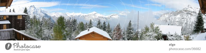 Panorama Eggberge Panorama (Aussicht) Schweiz Chalet Wolken Berge u. Gebirge Alpen Wolkendynamik groß Panorama (Bildformat)