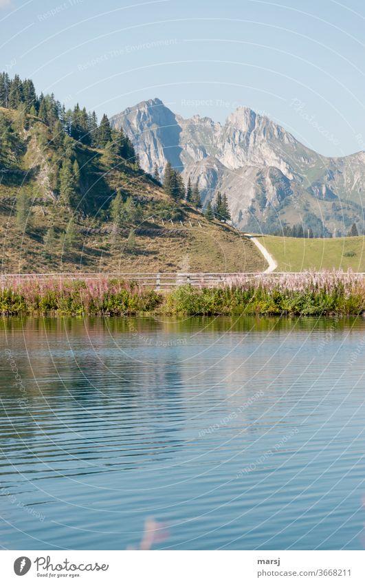 Berge, Wandern und Erfrischung im Bergsee wandern Landschaft See Natur Gipfel Seeufer Ferien & Urlaub & Reisen Ausflug Freiheit Alpen Berge u. Gebirge