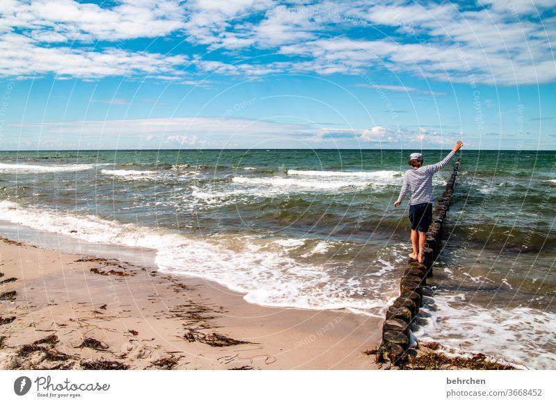 tag am meer Sohn weite Darß Meer Sehnsucht Fernweh Strand Farbfoto Außenaufnahme Wasser blau träumen Wellen Küste Ferien & Urlaub & Reisen