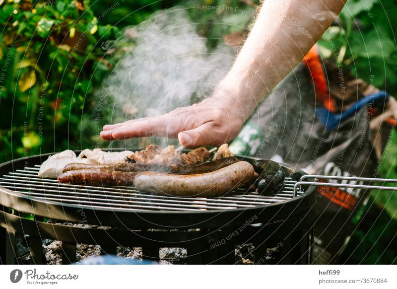 der kleine Temperaturcheck beim Grillen - es wird ... Hand holzkohlegrill Würstchen Grillgut grillfleisch Ernährung Fleisch Grillrost Außenaufnahme Wurstwaren