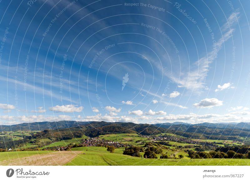 Mittags Ferien & Urlaub & Reisen Tourismus Ausflug Freiheit Natur Landschaft Himmel Wolken Sommer Klima Schönes Wetter Feld Wald Hügel wandern schön Stimmung