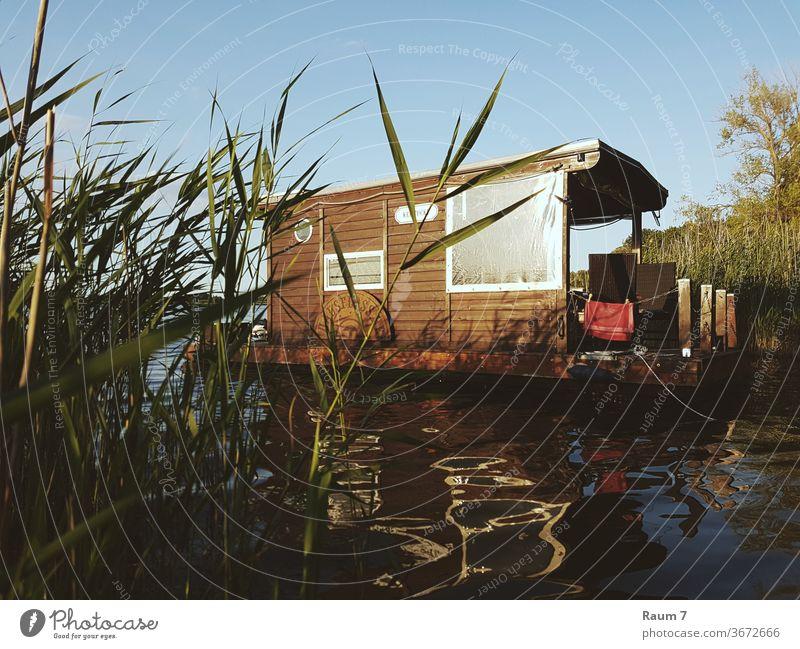 Hausboot Abenteuer Urlaub sehen Natur Wasser freiheit Ferien Zahnseide Landschaft deutschland kleines Haus Frei sein Sommer Hausfloss Brandenburg