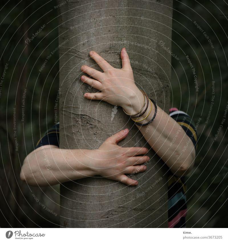 Baum knutschen | Druckerzeugnis baum umarmen kraft wald hände frau liebe hingabe armbändchen buche baumstamm demut natur meditation inspiration
