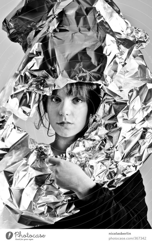 MP67 - Halbmond Stil Freude schön Gesicht Kosmetik Junge Frau Jugendliche 1 Mensch 18-30 Jahre Erwachsene Kunst Kunstwerk Mode Bekleidung Accessoire Schmuck