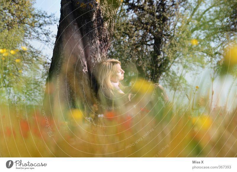 Sommertraum Wohlgefühl Zufriedenheit Erholung ruhig Meditation Ausflug Sommerurlaub Sonne Sonnenbad Mensch feminin Junge Frau Jugendliche 1 18-30 Jahre