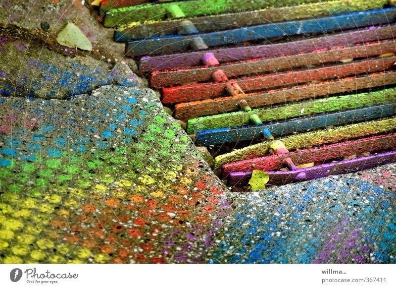 faabrasta Farbe Farbstoff lustig Lifestyle Kunst verrückt Kreativität einzigartig Farbenspiel innovativ Farbenwelt Fußmatte regenbogenfarben Gitter Gitterrost