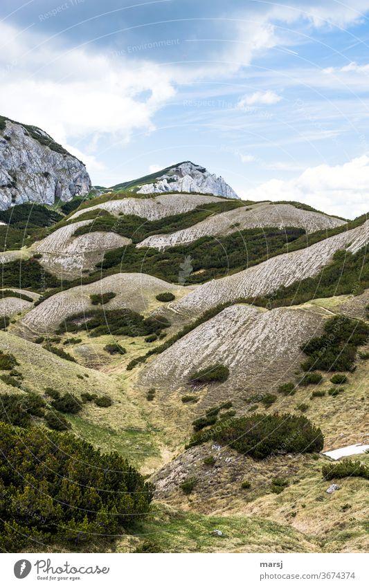 Sonderbare Landschaft im Kalkgebirge hügelig Berge u. Gebirge wandern Alpen Natur Ferien & Urlaub & Reisen Kalkalpen Gipfel Felsen Wolken karg