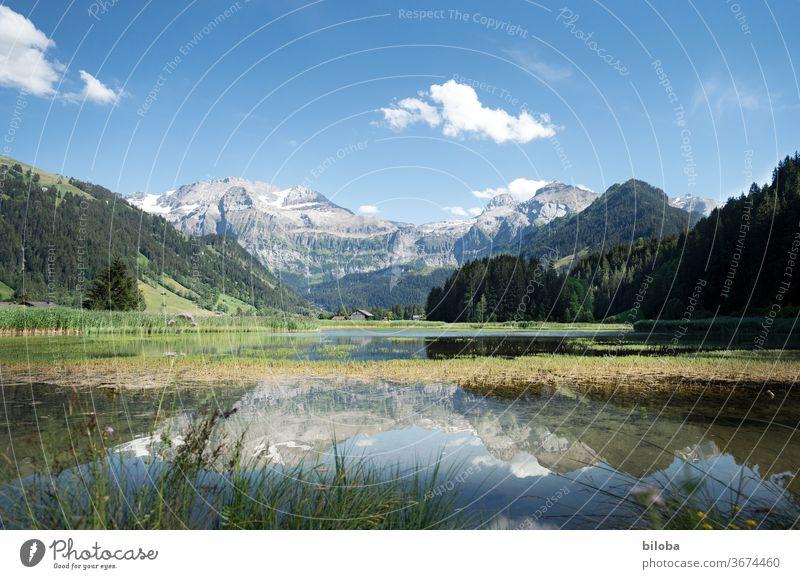 Berge im Ferienparadies Lenk spiegeln sich bei Postkartenwetter im Wasser des Lenkersees. Berge u. Gebirge See Spiegelung Spiegelung im Wasser Alpen