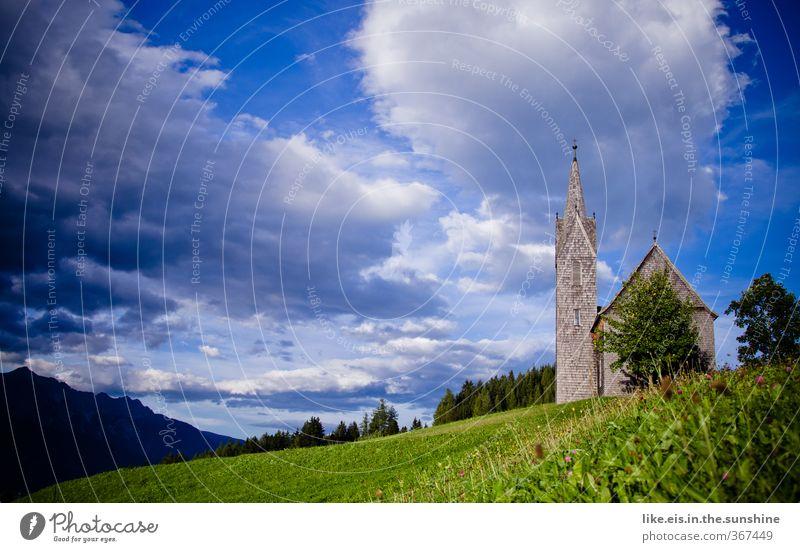 Einzeln sind wir Worte, zusammen.... Natur schön Sommer Baum Landschaft ruhig Wolken Umwelt Wiese Gras Religion & Glaube Kirche Ausflug Hochzeit Alpen Hügel