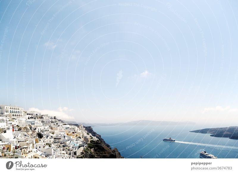 Insel Santorin Griechenland Santorini Europa mediterran Crete Küste blau Landschaft Felsen Tourismus Ferien & Urlaub & Reisen Sommer Meereslandschaft Wasser