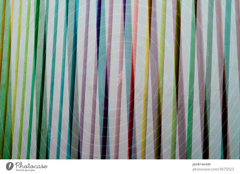 Anordnung von vielen bunten Streifen Strukturen & Formen abstrakt Linie Hintergrundbild Oberfläche nebeneinander Kreativität Dekoration & Verzierung