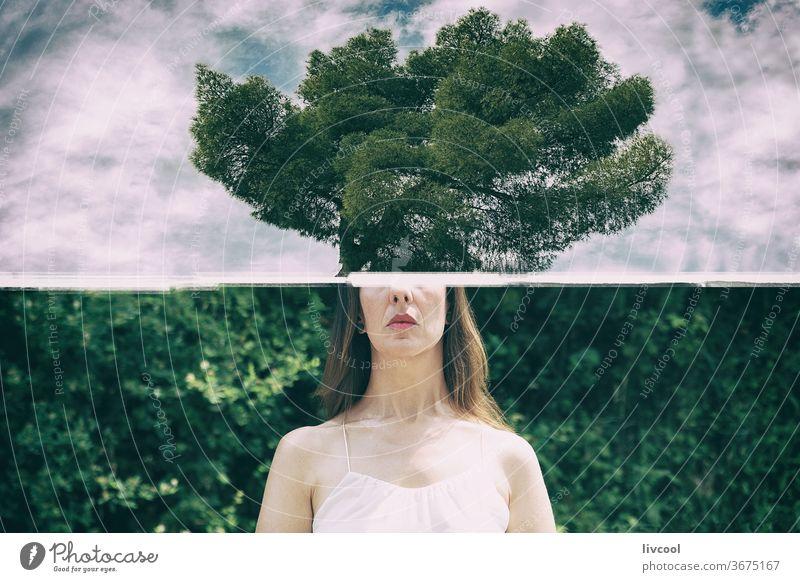 die Bäume im Kopf Frau Menschen menschlich Denken ökologisch grünlich Wald Cloud Himmel Berge u. Gebirge Hügel Natur im Freien Tourismus Ausflug reisen Ansicht