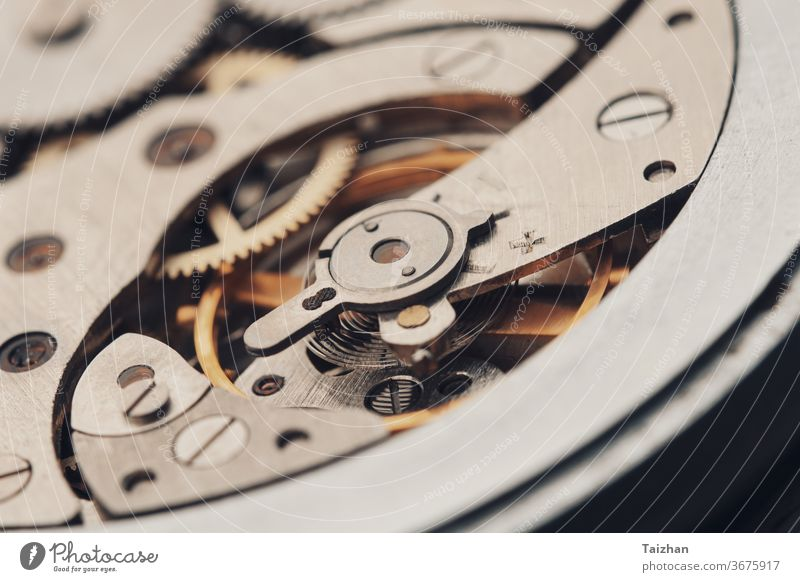 Zahnräder in antiken Uhren. interner Mechanismus von mechanischen Uhren Zahnrad Maschine Zeit Uhrwerk Nahaufnahme Technik & Technologie Armbanduhr Motor