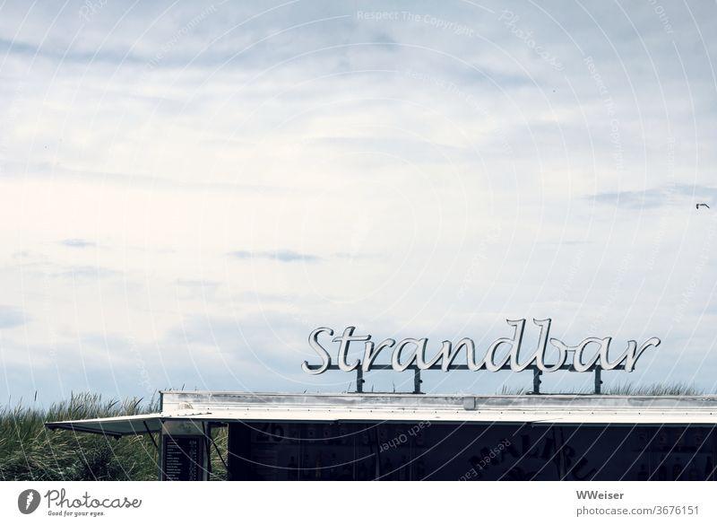 Strandbar an einem kühlen Sommertag Schrift Leuchtreklame Himmel Gras Düne Seeküste Meer Bar Buchstaben Wolken windig regnerisch Wetter Möwe Küste