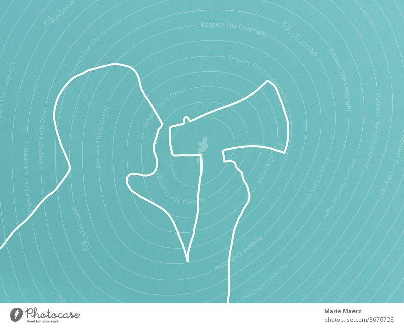 Achtung Durchsage - Mann mit Megaphon Linienzeichnung Hintergrund neutral minimalistisch Grafik u. Illustration Design Silhouette Zeichnung abstrakt Ansage