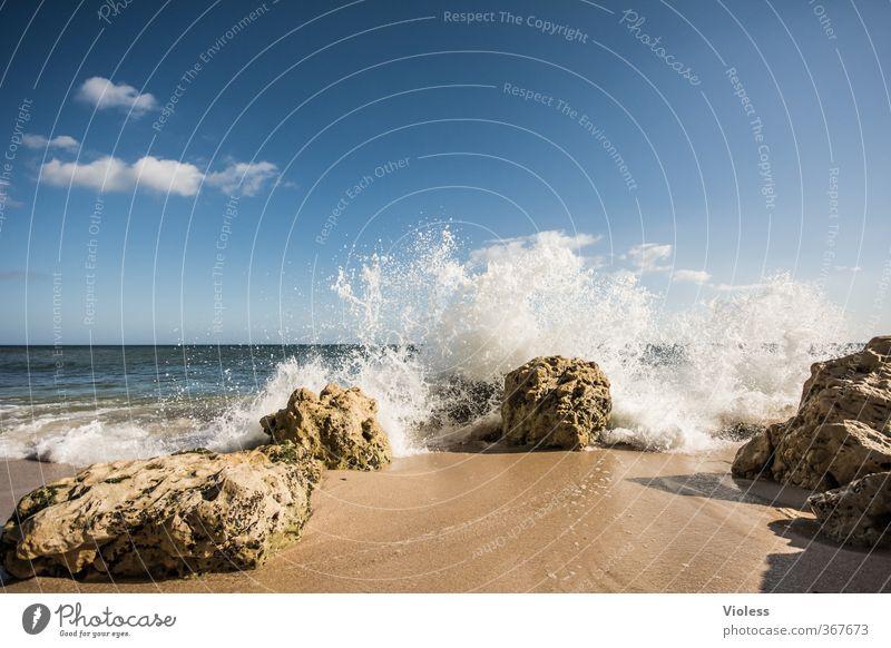 ...refreshing Ferien & Urlaub & Reisen Tourismus Ferne Freiheit Sommer Sommerurlaub Sonne Sonnenbad Strand Meer Wellen Schönes Wetter Küste Erholung Felsen