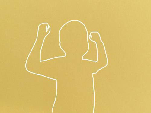 Starke Kinder - Linienzeichnung abstrakt Mensch Silhouette Grafik u. Illustration Hintergrund neutral Design Zeichnung minimalistisch gelb jung positiv Erfolg