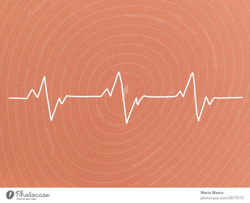 Herzschlag Linienzeichnung Hintergrund neutral Grafik u. Illustration minimalistisch Mensch Silhouette Zeichnung Textfreiraum oben Gesundheit herzfrequenz