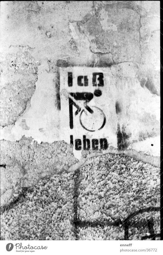 laß leben Wand Graffiti Typographie Fahrradfahren Text graphisch Piktogramm Straßenkunst Schablone Lateinische Schrift