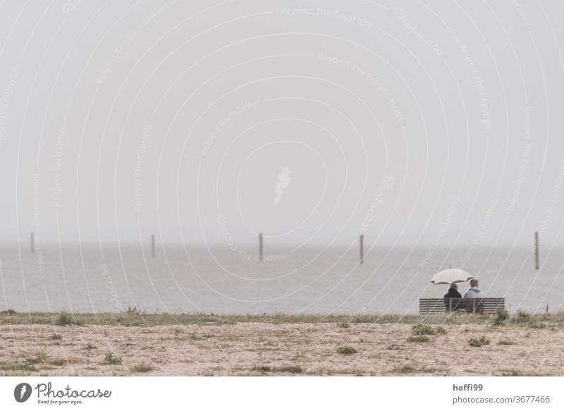 zwei Menschen am Strand auf einer Bank - bei Regen mit Regenschirm 2 Meer Sand Himmel ruhig Wolken Erholung Ferien & Urlaub & Reisen Wetter Küste friedlich