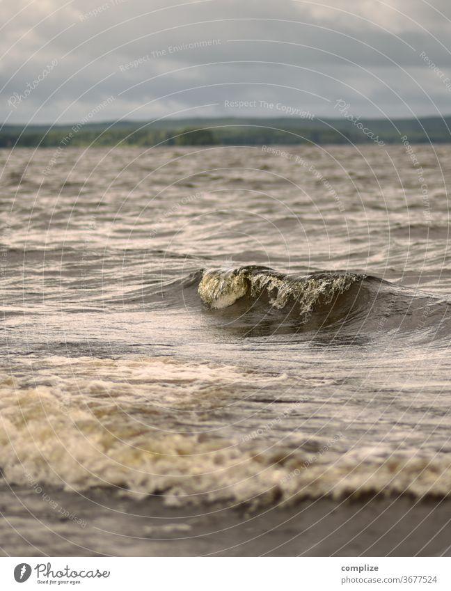 kleine Welle am See Wellen Wellengang Finnland Skandinavien Gewässer Wasser Sturm Regen Urlaub Wellenform Schaum reisen Reise Erholung