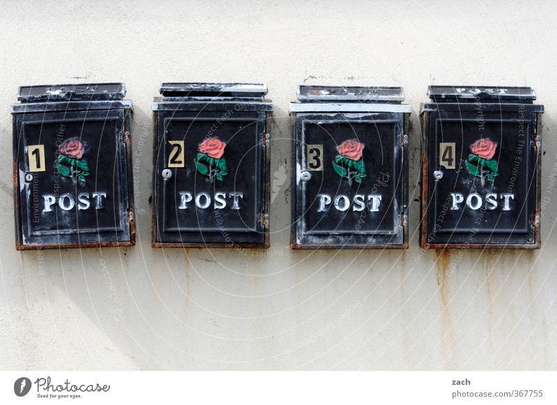 Post Haus schwarz Häusliches Leben Kommunizieren Ziffern & Zahlen Postkarte schreiben 4 Brief Briefkasten Republik Irland