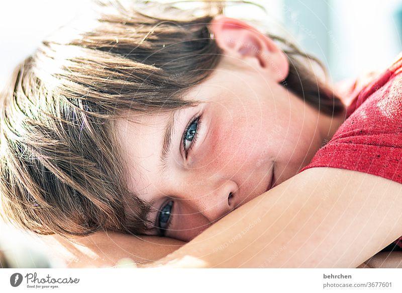 träumst du mit? lachen grinsen Verschmitzt Liebe Glück Sohn Lächeln Charme charmant hübsch glücklich Zufriedenheit Kopf Auge Sonnenlicht Kind Nahaufnahme