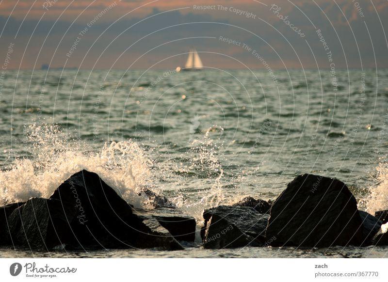 Segel setzen Himmel Natur Ferien & Urlaub & Reisen blau Wasser Sommer Sonne Meer Erholung Strand Ferne Küste Freiheit Felsen Wellen Tourismus