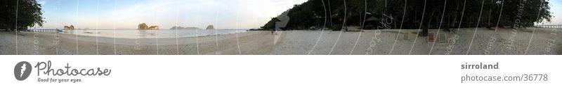 Koh Ngai (Ko Hai) Thailand Koh Whaen Strand Meer Anlegestelle Liegestuhl Ebbe Küste Sonne ruhig Palme Sommer Segelschiff Motorboot Panorama (Aussicht)