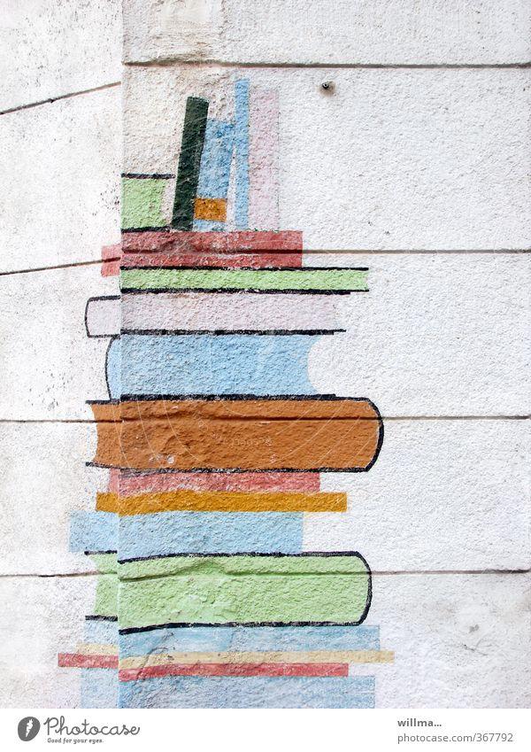 Bücherstapel oder Leseecke Buch Bildung Erwachsenenbildung Schule lernen Medien Printmedien Bibliothek lesen Mauer Wand Fassade Hausecke Aktenordner Literatur