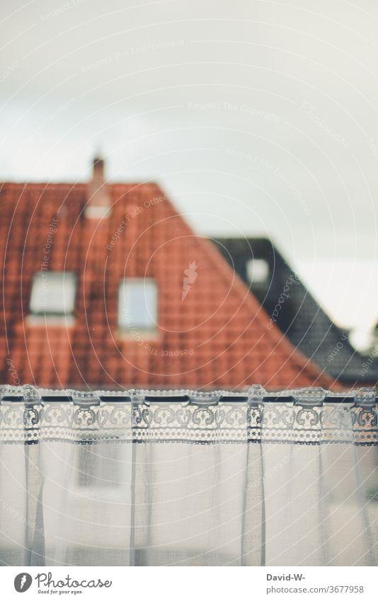 Aussicht / Blick aus dem Fenster mit Gardinen auf ein anderes Haus Dach wohnen Häuser Stadt Nachbarn Häuslich Himmel Gebäude Architektur Farbfoto Wohnung