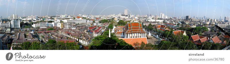 Wat Saket (Golden Mount) Ferien & Urlaub & Reisen grün rot Sonne Sommer Ferne Nebel groß Erfolg Urwald Panorama (Bildformat) Asien Blauer Himmel Thailand Smog