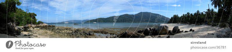 Ko Lipe Thailand Strand Ebbe Algen Meer Küste Sonne Palme Wolken Sommer Wasserfahrzeug Fähre Panorama (Aussicht) Weitwinkel Ferien & Urlaub & Reisen Ferne Sand