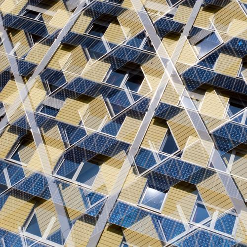 Fassade Stil Design Haus Energiewirtschaft Sonnenenergie Umwelt Fenster außergewöhnlich modern nachhaltig blau gelb Perspektive Umweltschutz Häusliches Leben