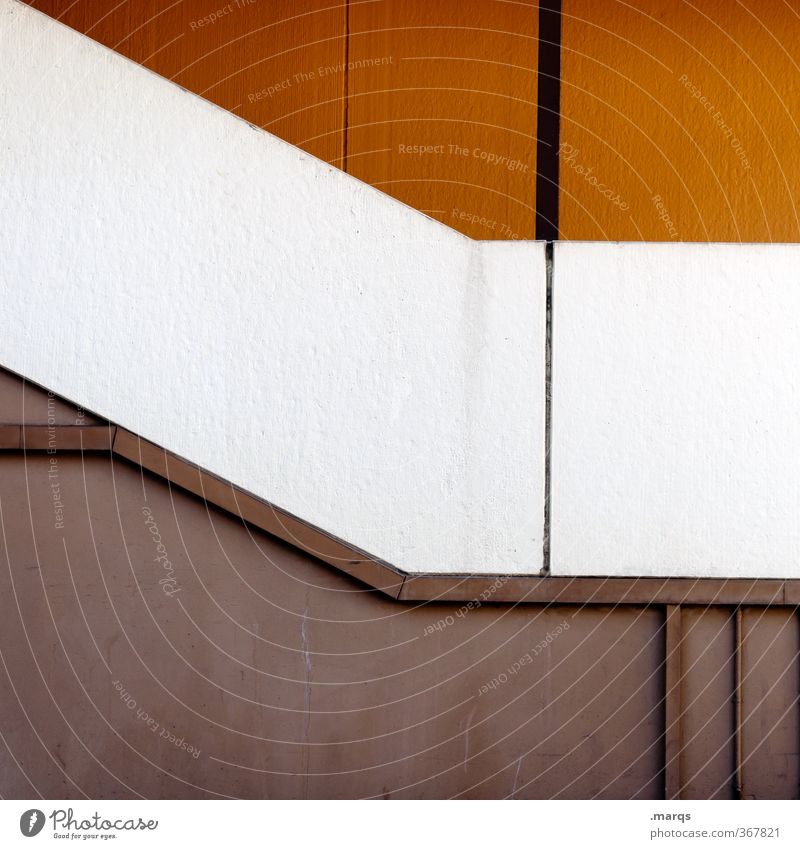 Alles nur Fassade | Abwärts weiß Stil Linie orange elegant Design einfach Grafik u. Illustration