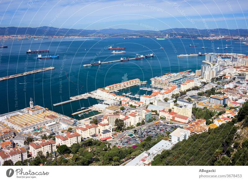 Luftaufnahme der Stadt Gibraltar und der Bucht von Gibraltar oben Großstadt Spanien Europa reisen Tourismus Ansicht Standort Anziehungskraft Tourist hoch