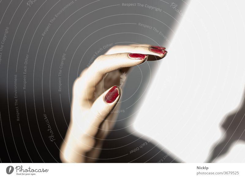 linke Hand einer Schaufensterpuppe mit blutroten Fingernägeln im Lichtspiel zwischen Licht und Schatten Fingernagel Nagel feminin Puppe Nagellack dunkelrot weiß