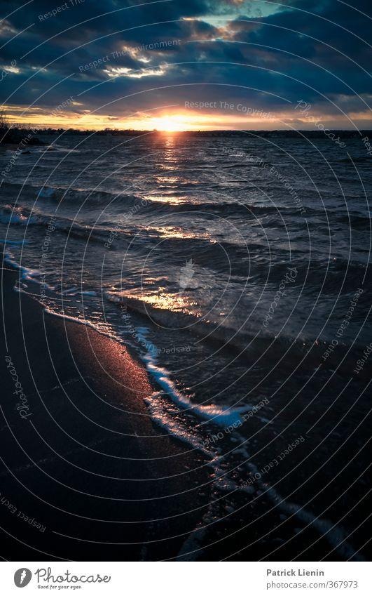 Der letzte Abend Umwelt Natur Landschaft Urelemente Luft Wasser Erde Himmel Wolken Gewitterwolken Sonne Sonnenaufgang Sonnenuntergang Sonnenlicht Frühling Klima
