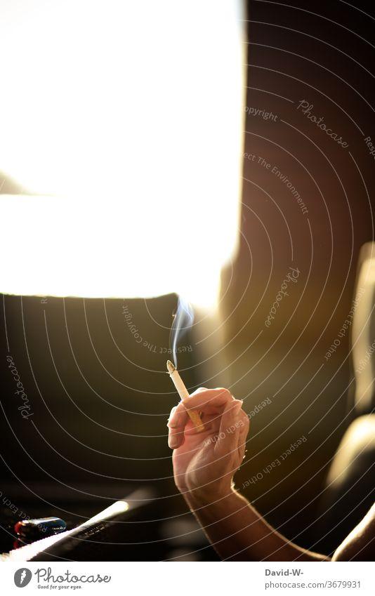 Frau hält eine qualmende Zigarette in der Hand Qualm Dampf Zigarettenrauch rauchen rauchend Raucher Raucherin anonym Starke Tiefenschärfe Sonnenlicht