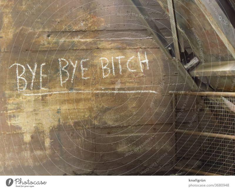 Bye bye bitch Graffiti Trennung Liebeskummer Konflikt & Streit Traurigkeit Gefühle Enttäuschung Verzweiflung Farbfoto Partnerschaft Menschenleer Schriftzeichen