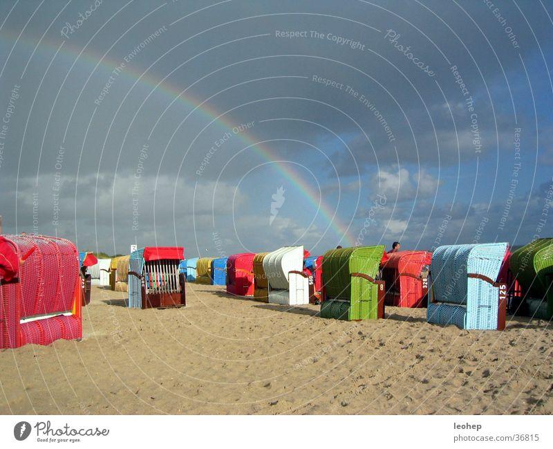 regenbogenstrandkorbstimmung Himmel Strand Wolken Regen Stimmung Regenbogen Strandkorb Föhr