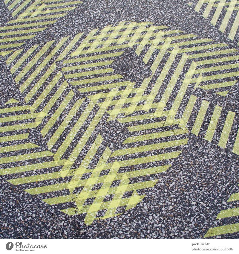 RS SR Doppelbelichtung Bodenmarkierung neonfarbig abstrakt Muster Strukturen & Formen Design Buchstaben Silhouette Experiment Detailaufnahme gelb Wege & Pfade