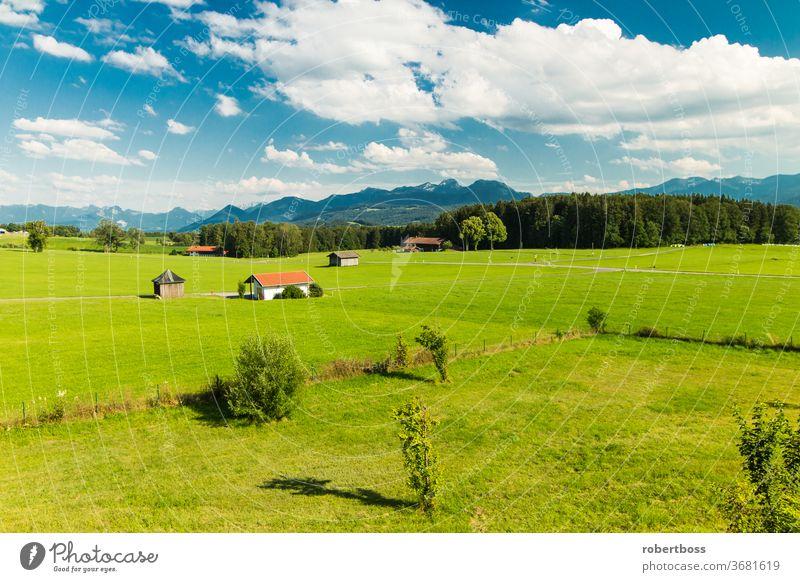 Blick auf die Alpen in Bayern Deutschland Landschaft Berge im Freien Natur malerisch Sommer bayerische Alpen Schönheit in der Natur Reiseziele