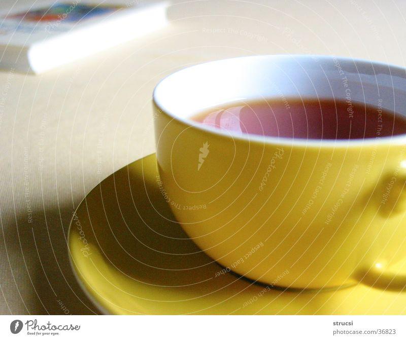 Tasse Erholung ruhig gelb genießen Buch Warmherzigkeit rund Getränk Tee gemütlich Heißgetränk Teetrinken Teetasse