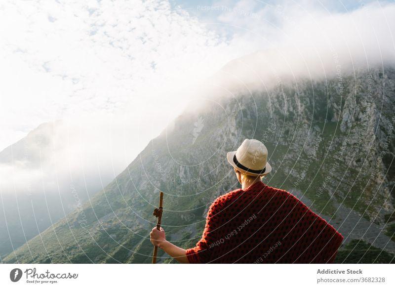 Reisender mit Holzstock im Hochland Berge u. Gebirge Morgen genießen Wanderer Fernweh hölzern Personal Landschaft Freiheit friedlich idyllisch Natur ruhig
